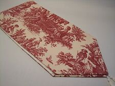 """NEW~53"""" RED ON CREAM~WAVERLY Country Life Toile~Lined Tablerunner With Tassels"""