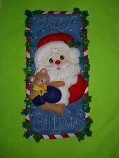 """Bucilla  """"Santa & Bear Banner """"  size  11 1/2"""" x 22 1/2"""" ~ Finished /Handmade"""