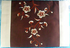 """Handcrafted Vietnamese Embroidered Silk Table Runner 16"""" x 74"""", Brown Floral"""