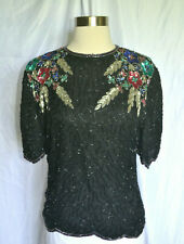 VINTAGE 80'S HEAVILY BEADED/SEQUIN 100% SILK LAURENCE KAZAR COCKTAIL TOP SIZE PS