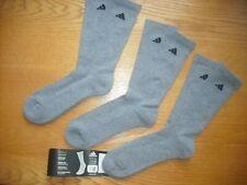 Mens NWT Adidas Crew Socks 3prs Gray w/Black Logos Cushioned SOFT Sz:L (8-12)