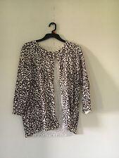 CATO Women's Cream Brown Leopard Animal Print Cardigan SIZE M Stylish