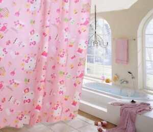 Kawaii Pink Hello Kitty Waterproof Bathroom Shower Curtain with Hooks 1.8M 2M