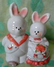 Bunny Rabbit Couple Figurine Got on bottom ceramic Wedding cake Topper over 4 in