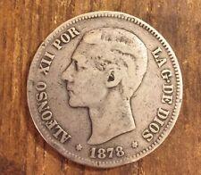 ESPAÑA ALFONSO XII 1878 DEM 5 PESETAS MONEDA PLATA MBC+