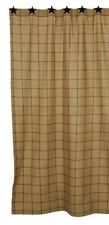Cotton Burlap Check Shower Curtain Farmhouse Primitive Bathroom
