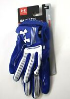 Under Armour Heatgear Youth Boys Medium Blue & White Baseball Batting Gloves