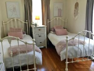 Single bed frame x 2 Antique white cast iron wrought iron