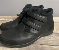 Orthofeet Diabetic Women's Ankle Boots Black Leather Hook & Loop Boot Sz 8 M