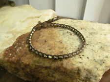 925 Sterling silver Faceted Beads Brown Wax cord Button clasp Bracelet Unisex