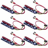 Mailiya 6-Pack PCIe Dual Chip PCI-E 16x to 1x Powered Riser Adapter Card w/ 60cm