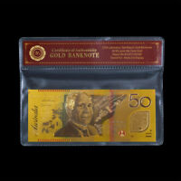 WR Australia $50 Coloured Gold Note Polymer Banknote Business Gift In COA Sleeve
