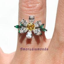 2.21 ct GIA fancy intense yellow round pear shape diamond emerald daisy ring 18k