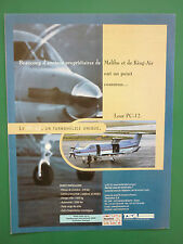 7/2000 PUB AVION PILATUS PC-12 SWISS AIRCRAFT FLUGZEUG ORIGINAL FRENCH ADVERT