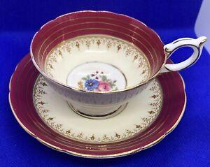 🌺 SALE! Aynsley Teacup & Saucer Cabbage Rose Floral Red Base Gold Gilt 1930's