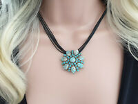 3 in 1 Vintage SPHINX faux turquoise silver tone floral pin brooch necklace