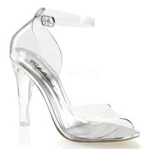 Fabulicious CLEARLY-430 Women's Shoes Clear Open Toe Ankle Strap High Heels