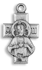 Sacred Heart Jesus Christ Cross with Our Lady Mt Carmel Back Medal, 3/4 Inch
