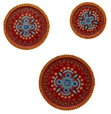 Wooden Colorful Wall Hanging Three Plates,Wooden Plates Wall Decor,Hand Painted