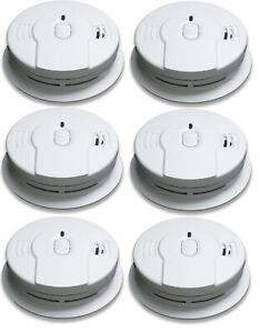 6 PACK Kidde I9010 Firex Ionization Battery Operated Smoke Detector Alarm
