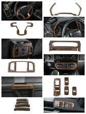 Full Set Wood Grain Interior Decoration Trim Cover Kit For 2015 2017 Ford F150