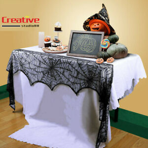 US!Halloween Lace Cobweb Fireplace Spiderweb Mantle Cover ScarfCloth Party Decor