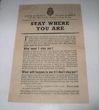 WW2 Home Front ORIGINAL LEAFLET Stay Where You Are MINISTRY OF INFORMATION