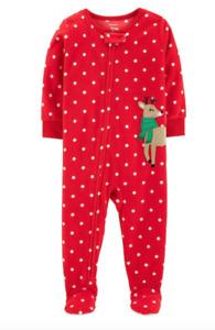 *NEW* Toddler CARTERS Girl Christmas Reindeer Polka Dot Pajama 5T NWT