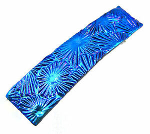 "Dichroic Hair Barrette 2.5"" 9cm Blue Teal Floral Seashell Patterned Fused GLASS"