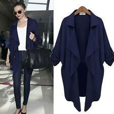 Womens Waterfall Trench Coat Thin Long Sleeve Blazer Cardigan Tops Duster Jacket