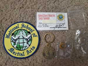 National school of martial arts Olympic taekwondo patch, key chain, pin & card