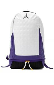 Brand New Nike Jordan Retro 13 Backpack White/Purple Lakers One Size 9A1898-P6N