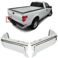 ECOTRIC Chrome Rear step Bumper Face Bar End Caps Driver Passenger Side W//O Sensor Hole Compatible with 2009-2014 Ford F150 Styleside
