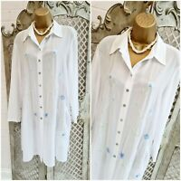 QUO UK 14 Designer Retro Sheer White Chiffon Beaded Floral Long Blouse