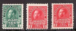 Sc# MR1 MR2 MR2a - Canada - 1915 - War Tax - MH - superfleas - cv$130