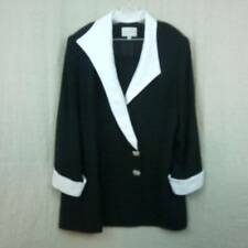 Lily & Taylor Black Evening Jacket White Satin w/ Rhinestone Buttons Womens 22