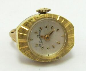 Lucien Picard Gold Plated Ring Watch Size 6.5 Manual Winder