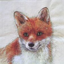 2 single paper napkins decoupage craft or collection Forest Animals Fox