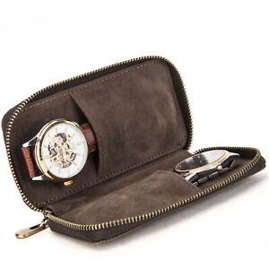 Premium Leather Watch Pouch Bag Zipper Watches Storage Box Case Sleeve Holder