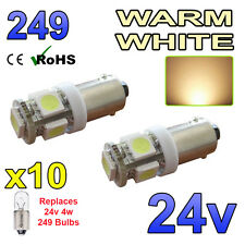 10 x 24 V blanc chaud ampoules à DEL BA9s 249 Side Light Wedge poids lourds Man Volvo