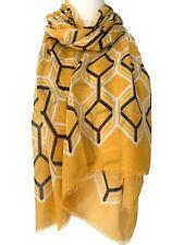 Mustard Yellow Scarf Navy Blue White Geometric Print Wrap Ladies Large Shawl
