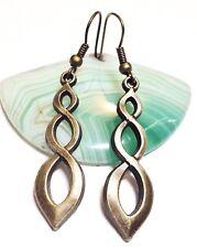 CELTIC SPIRAL_Bronze Charm Earrings_Triquetra Trinity Irish Ireland Knot_66E