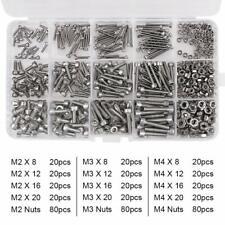 480Pcs Hex Socket Head Screw Nuts Assortment Kit Stainless Steel Metric M2 M3 M4