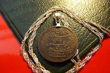 "ANTIQUE EGYPTIAN COIN PENDANT on a 28"" 925 Sterling Silver Wavy Chain"