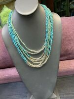 Ladies Vintage Bohemian Turquoise Silver Seed Multi Strand  Necklace Boho 22""