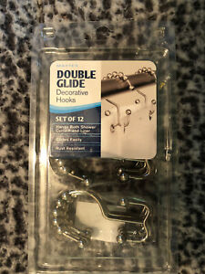 Maytex Double Glide Hooks set of 12 Hangs Shower Curtain and Liner Matte Nickel