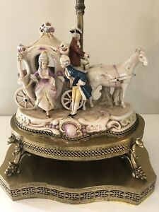 VINTAGE CAPODIMONTE STYLE  VICTORIAN PORCELAIN AND BRASS TABLE-MANTEL LAMP