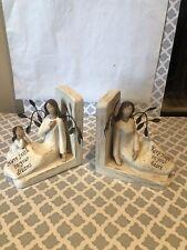 Hope & Faith Wood Look Angel Book Ends-5 3/4� Tall