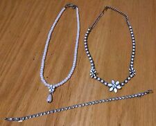 Vintage-now rhinestones white 3 pc bracelet necklaces bead pearls After Thoughts