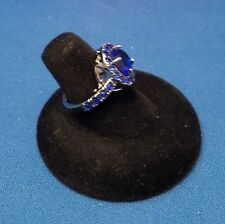 RING Size 6 - Blue  Color Stone & Vintage Tint Band with Gift Box